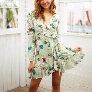 Angel Biba floral ruffle mini dress XS